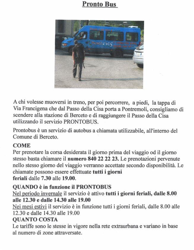 Via Francigena: servizio prontobus