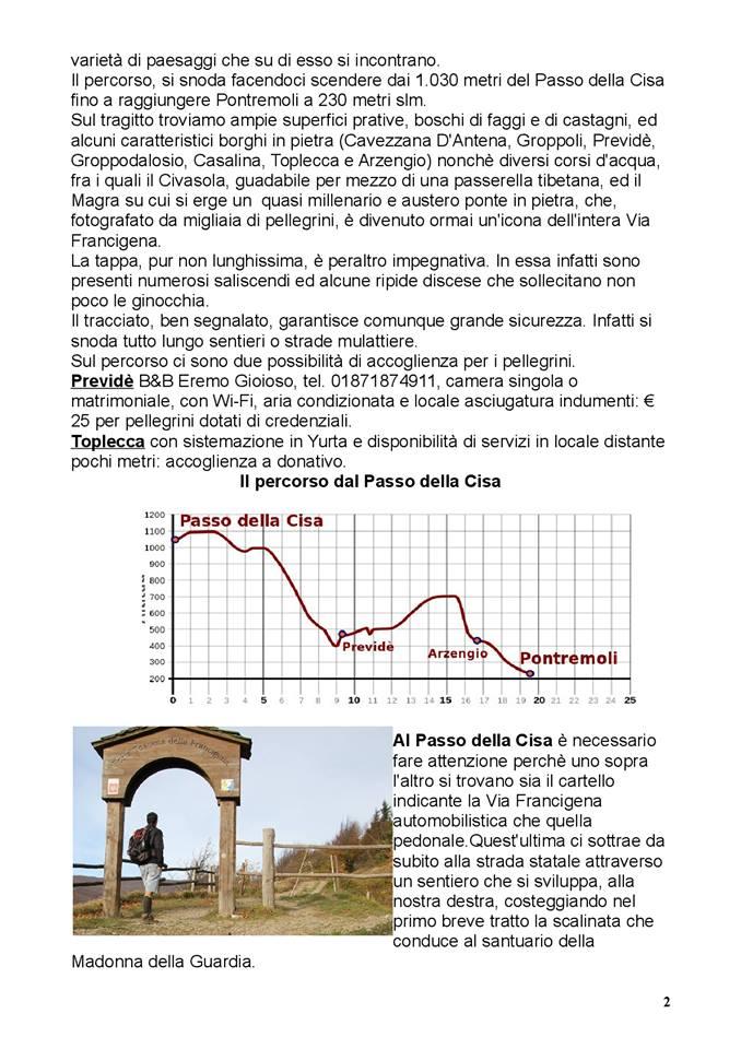 Via Francigena: partenza dal Passo della Cisa