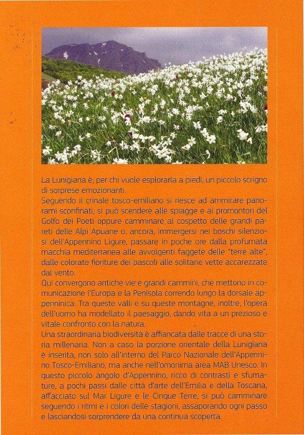 """Retrocopertina del bel libro di Andrea Greci """"Escursioni in Lunigiana"""""""