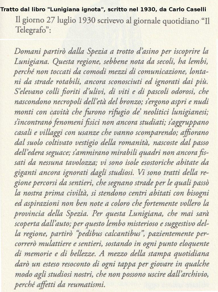 Introduzione al libro Lunigiana ignota, scritto da Carlo Caselli, nel 1930