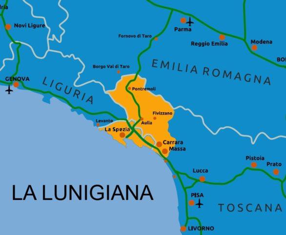 La Lunigiana: cartina indicante il suo posizionamento