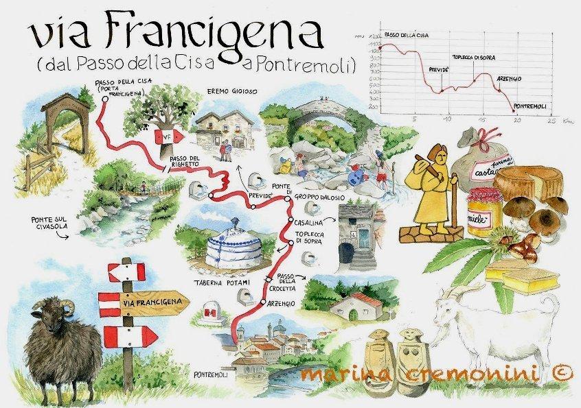 Percorso tappa Via Francigena Passo Cisa Pontremoli:  Acquerello di Marina Cremonini